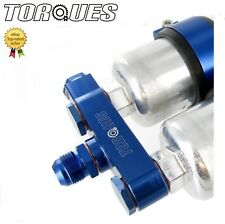 Twin Bosch 044 Fuel Pump Billet Aluminium Assembly INLET Manifold In Blue