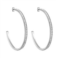 Stainless Steel Micro-Pave Cubic Zirconia Hoop Earrings, 50 mm