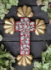 Carved Wooden Cross & Gold Leaf Ends Milagros, Small, Mexican Folk Art Michoacán