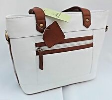 TOMMY & KATE HIGH QUALITY LEATHER HANDBAG -BNWT - WHITE WITH TAN BROWN TRIM