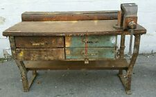 Vintage Industrial Work Bench Table Workbench Cast Iron & Parker Vise