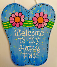 FLIP FLOPS Welcome To My Happy Place Sign Tiki Bar Pool Hot Tub Beach Plaque