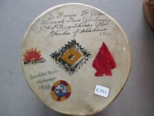 CHEROKEE HIDE DRUM, WORLD'S FAIR 1933..NATIVE AMERICAN INDIAN DRUM CO P-369