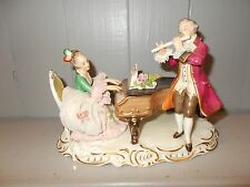 VINTAGE WEST GERMAN DRESDEN LACE PORCELAIN MUSICIAN FIGURE GROUP - SIGNED  ALKA