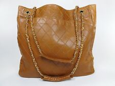 AUTHENTIC Chanel Brown Quilted Lambskin Leather Shopper Tote Chain Bag 47222