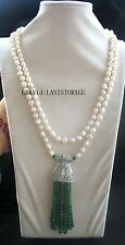 "freshwater pearl white ROUND skirt jade necklace 55"" nature wholesale gift fashi"