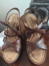 BORN FILOMENA LEATHER WEDGE SANDAL PLATFORM WHISKEY BROWN SIZE 7 NIB