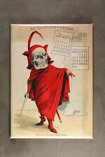 Skeleton in Red Fridge Magnet  Art from 1898 Antikamnia Calender Louis Crusius