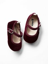 GAP Baby / Toddler Girl 12-18 Months Red / Bordeaux Velvet Mary Jane Flats Shoes