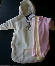4pc US POLO ASSN SNOW SUIT COAT WINTER CREAM BABY 0-9 M 3 Onesies boys girls NWT