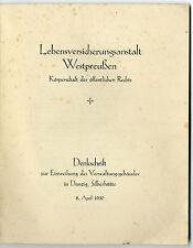 Lebensversicherungsanstalt Westpreußen Denkschrift  8. April 1930 Einweihung