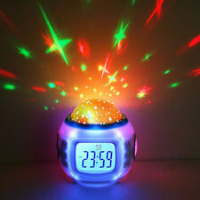 Starry Light Projector Kids LED Magic Alarm Clock Digital Calendar Thermometer