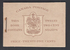 Canada Uni BK33aE Intact Booklet, 1942 issues, 2 panes of 6, 17mm staple