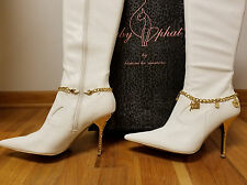 EUC RARE Sz 11 BABY PHAT Stetch Boots! Gold Spike Heels & Charm Bracelet Accents