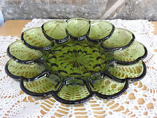 VTG Anchor Hocking Green Glass Fairfield Pattern Deviled Egg Serving Tray 1960s