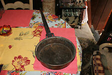 Antique Copper Metal Frying Pan W/Hand Forged Handle-Large-Country Decor