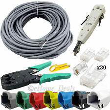30M Ethernet RJ45 Cat6e Network Cable Crimping Punch Down Tool Boots Connectors