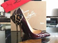 NEW CHRISTIAN LOUBOUTIN Huguetta Pump 120 Patent Pony Black Red Leo Shoe EU36