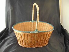 Strong Oval basket handle hand made & painted Peoples Republic of China vtg art