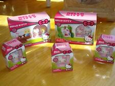 Hello Kitty 7 Flocked collectable Figures Come With Swing Playset *NIB*