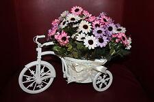 Retro Blumen Fahrrad Korb mit Blumen Rosen Pflanzenkorb Dreirad Deko