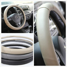 BEIGE LEATHER STEERING WHEEL COVER STITCH GRIP SPORT STYLE NEW 98010E