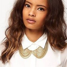 Women Lady Metallic Gold chunky choker Gothic party chain Necklace fake collar
