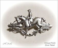 Equestrian Stock Pin Hunt Horse Rider Brooch Costume Jewellery Antique Silver SP