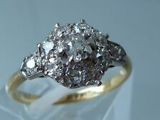 STUNNING ANTIQUE EDWARDIAN 18CT DIAMOND  RING - .80CT OLD CUT DIAMONDS