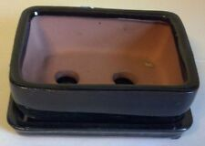 Lovely Bonsai Pot and attached Saucer, New, Black