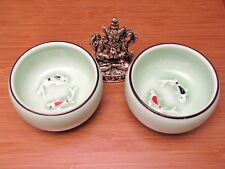 2pc Green Celadon Ceramic Gongfu Koi fish Tea Cups