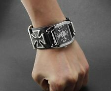 Men's Punk Biker Skull Iron Cross Leather Bracelet Wristwatch Cool Gift