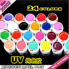 24 Colors UV Gel Nail Tips Pure Fine Glitter Pearl Shiny Cover Manicure Set