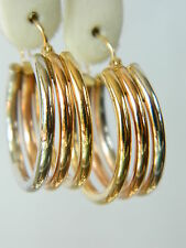 14K THREE COLOR WHITE ROZE YELLOW  GOLD  HOOP  EARRINGS #0690