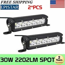 "2X 7"" inch 30W Single Row Led Light Bar Slim Spot Offroad Boat Bumper 4x4WD Jeep"