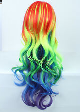 My Little Pony Rainbow Dash Cosplay Wig Ponytail Synthetic Full Wigs Wavy Long