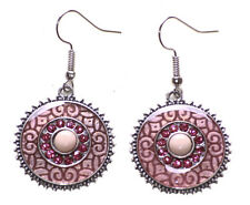 Romantic Blush Pink Enamel Swirl & Diamanté /nude Stone Centre Earrings(Ns17)