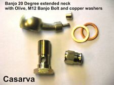 EXTENDED NECK BANJO KIT WITH M12 X 1 BOLT & WASHERS 20 DEGREE - PLATED - 3 AN