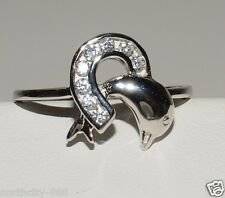 Dolphin Lucky Horseshoe Ring Sterling Silver 925 with CZ SZ 7