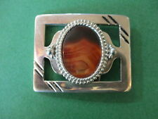 "VINTAGE ""UN-I-SEX BELT BUCKLE, LARGE POLISHED AGATE STONE, METAL CHROME FINISH"