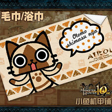 Game Monster Hunter Washcloth Bath Towel Airou Cat Cos Gift 140*70cm MH