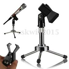 Adjustable Metal Tripod Desktop Table Clamp Clip Holder Stand Mic Microphone