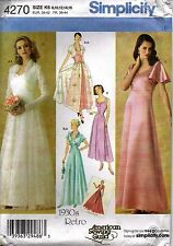 Simplicity Sewing Patterns Retro 1930's Wedding Evening Dress #4270 SZ 8-16 UC