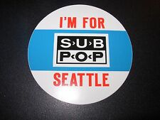 "SUB POP SEATTLE 4"" I'M FOR SEATTLE Cassette Sticker Decal pearl jam nirvana"