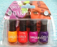 ORLY BAKED 4-pc Summer Mini Nail Polish Set ~ Tropical Hot Ablaze Saturated NIB