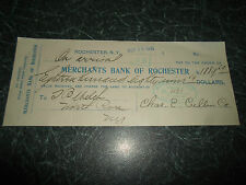 RARE  Merchants Bank of Rochester  New York Payment Order/Cheque Dated 1916