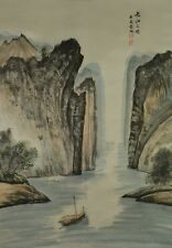 Hanging Scroll Chinese Painting Landscape Asian Art ink China Paint Ship a185