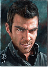 HEROES PSC ACEO SKETCH CARD ORIGINAL PAINTING SYLAR ZACH QUINTO by POTRATZ & HAI