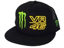 Official VR46 Valentino Rossi Monster Energy Black Trucker SnapBack Flat Cap