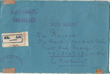 Stamps India 1946 Central Bank of India ALLEPPEY cover sent registered airmail